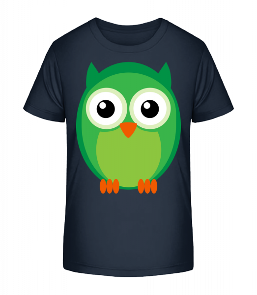 Kids Owl Green - Detské Premium Bio tričko - Namořnická modrá - Napřed