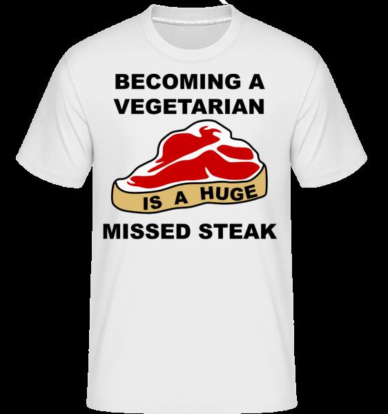 Stávat se vegetariánem je obrovský Missed Steak -  Shirtinator tričko pro pány - Bílá - Napřed