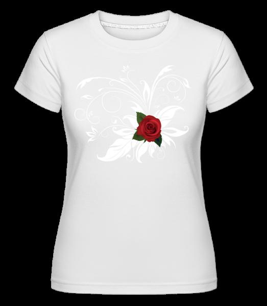Červená růže - Shirtinator tričko pro dámy - Bílá - Napřed