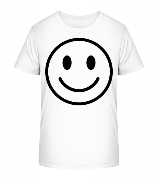 šťastný emotikon - Detské Premium Bio tričko - Bílá - Napřed