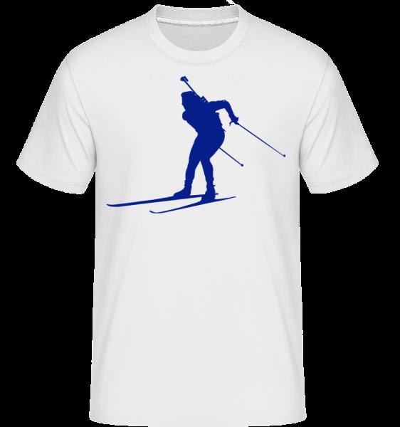 Lyžování Cross Country Modrá -  Shirtinator tričko pro pány - Bílá - Napřed