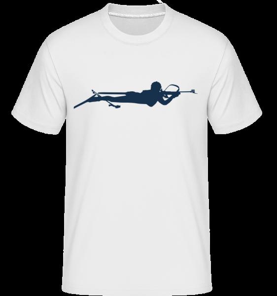 Biatlon Modrá - Shirtinator tričko pro pány - Bílá - Napřed