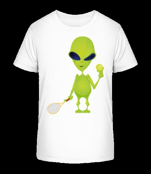 Alien Plays Tennis - Detské Premium Bio tričko - Bílá - Napřed