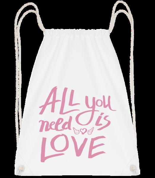 All You Need Is Love - Drawstring batoh se šňůrkami - Bílá - Napřed