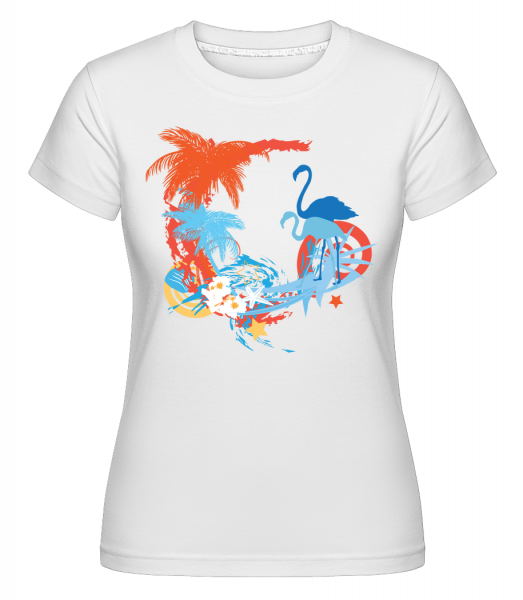 Flamingos In Paradise Blue/Orang -  Shirtinator tričko pro dámy - Bílá - Napřed