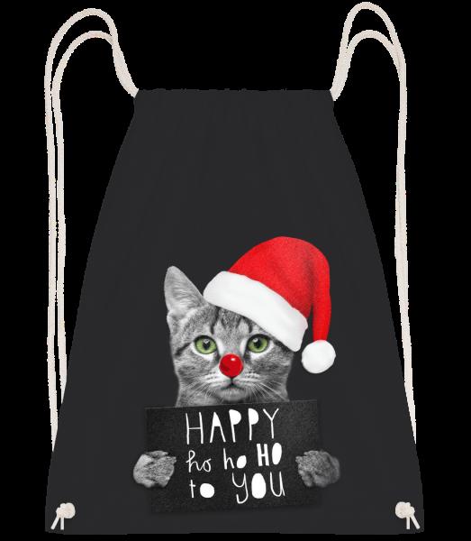 Happy Ho Ho Ho To You - Drawstring batoh se šňůrkami - Černá - Napřed