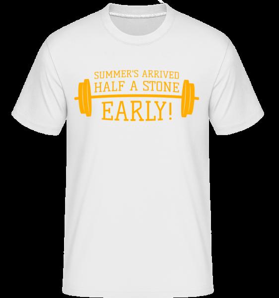 Summer's Arrived Half A Stone Ea -  Shirtinator tričko pro pány - Bílá - Napřed