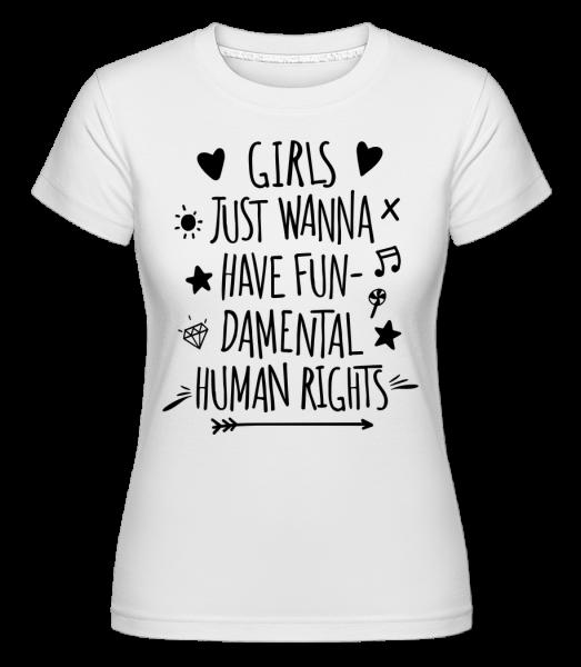 Damental lidská práva -  Shirtinator tričko pro dámy - Bílá - Napřed
