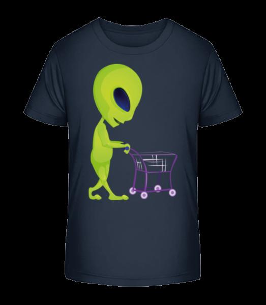Alien s nákupním vozíkem - Detské Premium Bio tričko - Namořnická modrá - Napřed