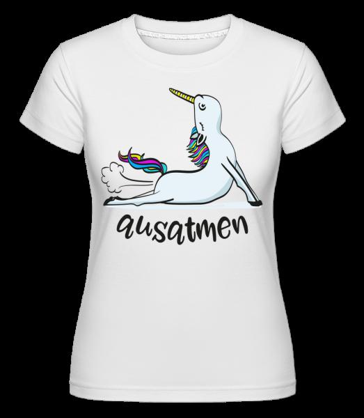 Jóga Unicorn Exhale -  Shirtinator tričko pro dámy - Bílá - Napřed