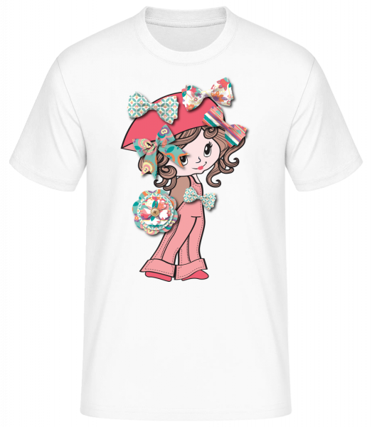 smyčka dívky - Basic T-Shirt - Bílá - Napřed