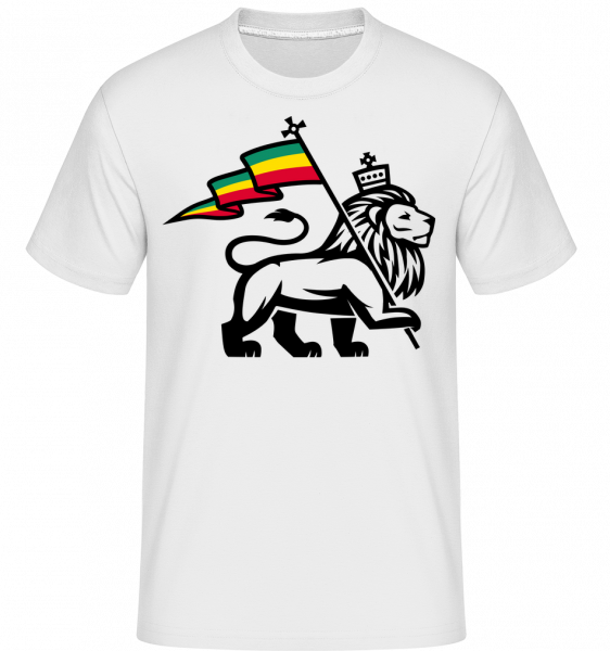 Lion Jamaican Flag - Shirtinator tričko pro pány - Bílá - Napřed