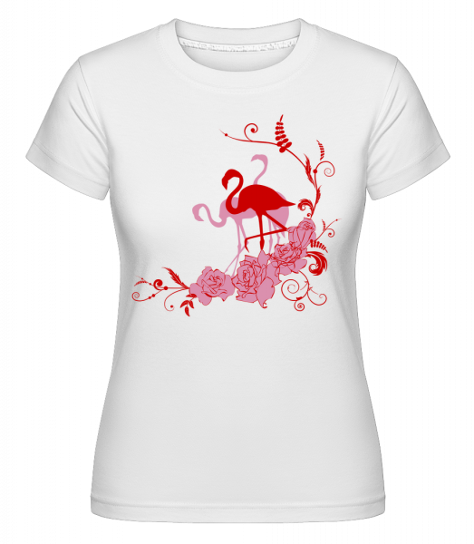 Flamingos Flowers -  Shirtinator tričko pro dámy - Bílá - Napřed