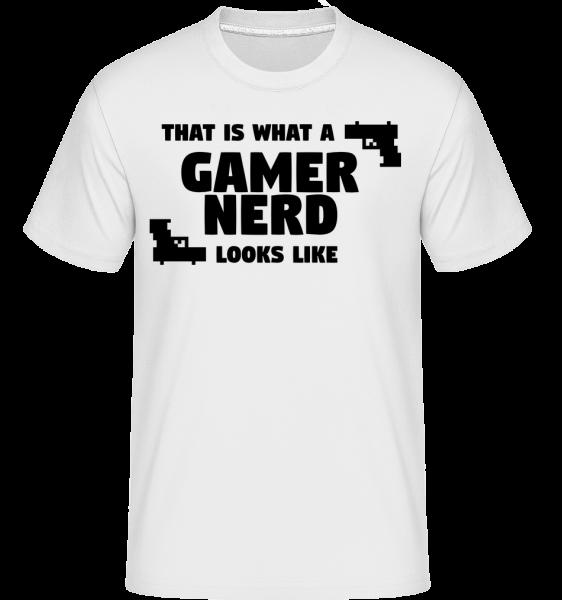 A Gamer Nerd Looks Like -  Shirtinator tričko pro pány - Bílá - Napřed