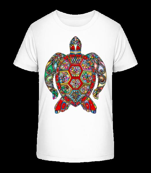 geometrické želva - Detské Premium Bio tričko - Bílá - Napřed