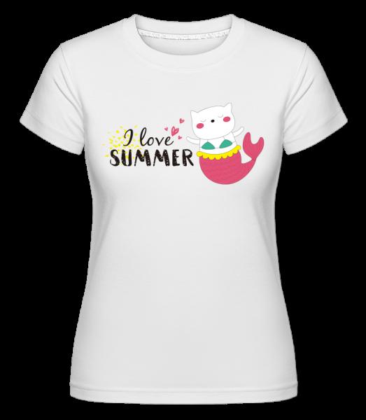 I Love Summer Cat Fish - Shirtinator tričko pro dámy - Bílá - Napřed