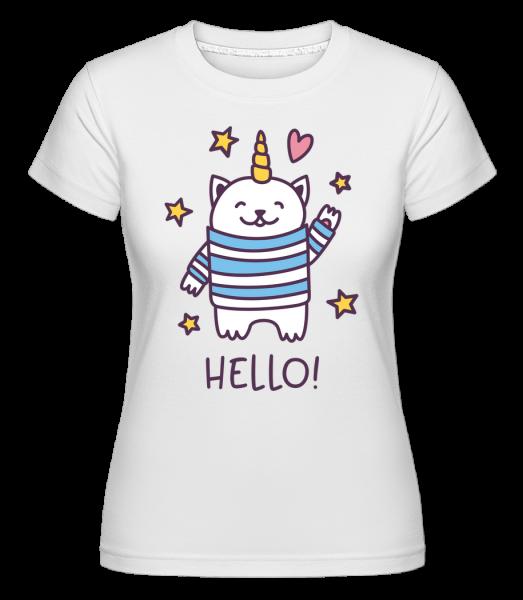 Dobrý den, Cat Unicorn -  Shirtinator tričko pro dámy - Bílá - Napřed