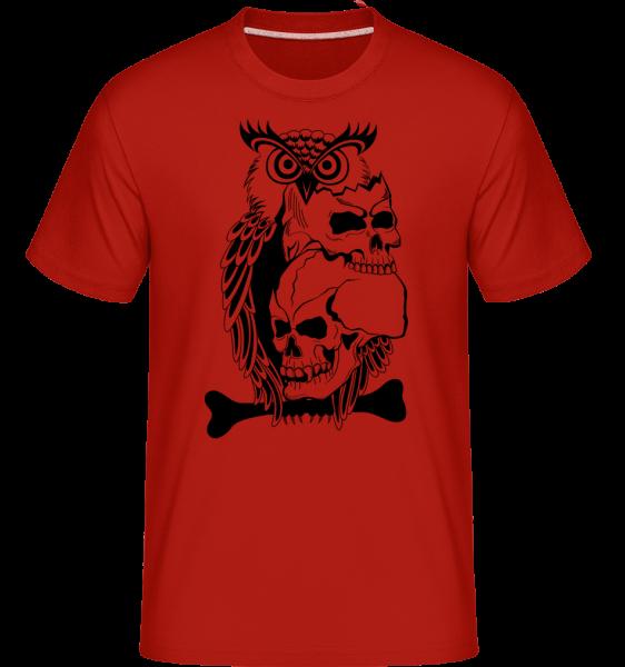 Sovy Skulls Tattoo -  Shirtinator tričko pro pány - Červená - Napřed