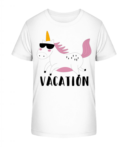 dovolená Unicorn - Detské Premium Bio tričko - Bílá - Napřed