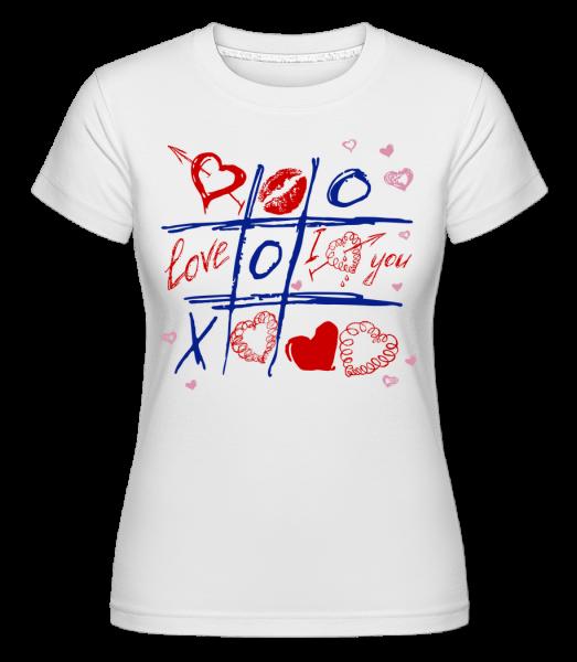 Láska Raster Valentine -  Shirtinator tričko pro dámy - Bílá - Napřed