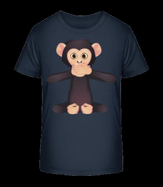 Mute Monkey - Detské Premium Bio tričko - Namořnická modrá - Napřed