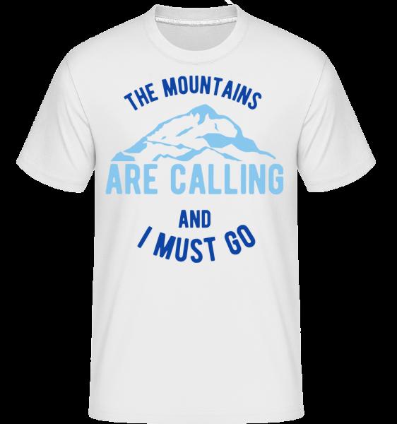 Hory volají A musím jít Modrá - Shirtinator tričko pro pány - Bílá - Napřed