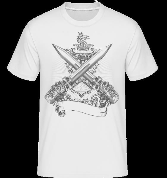 cross meče - Shirtinator tričko pro pány - Bílá - Napřed