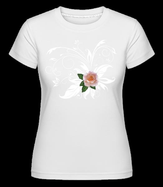 Pink White Rose -  Shirtinator tričko pro dámy - Bílá - Napřed