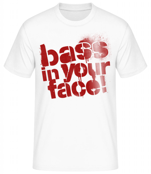 Bass In Your Face - Pánské basic tričko - Bílá - Napřed