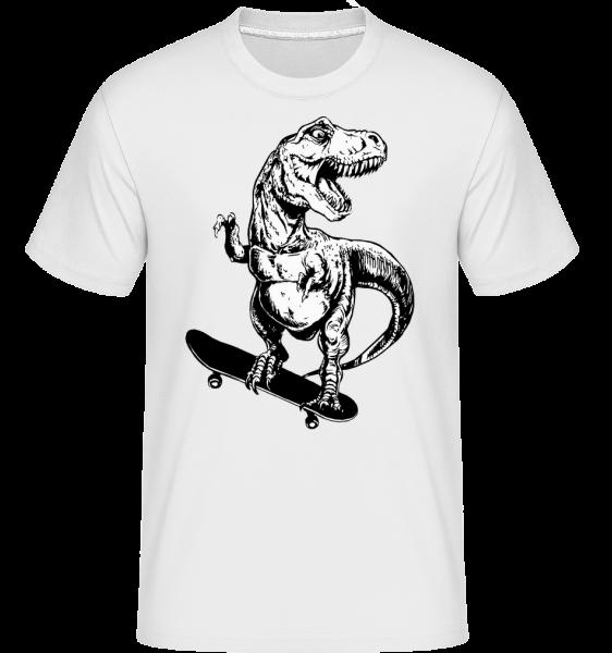 T-Rex bruslař -  Shirtinator tričko pro pány - Bílá - Napřed
