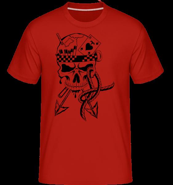 Skull Tattoo bojovník -  Shirtinator tričko pro pány - Červená - Napřed