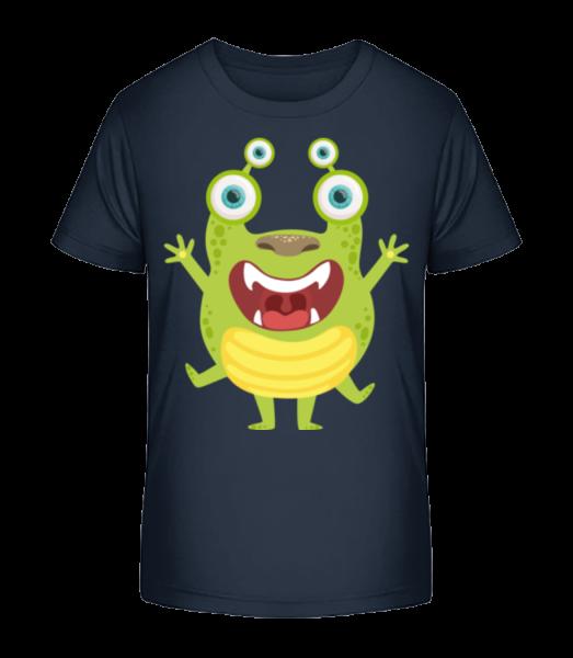 Alien Frog - Detské Premium Bio tričko - Namořnická modrá - Napřed