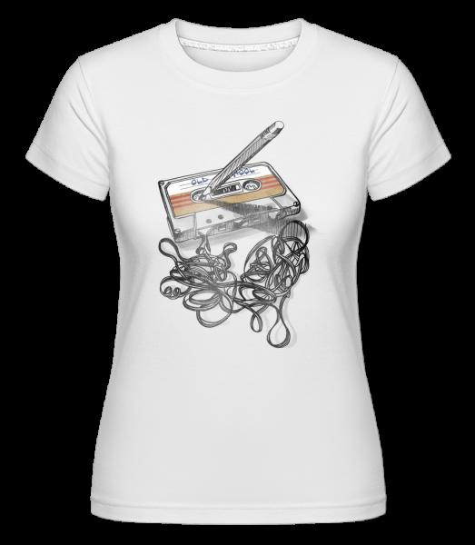 Old School Cassette -  Shirtinator tričko pro dámy - Bílá - Napřed
