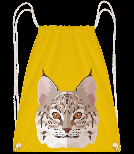 Wild Cat Comic Shadow - Drawstring batoh se šňůrkami - Žlutá - Napřed
