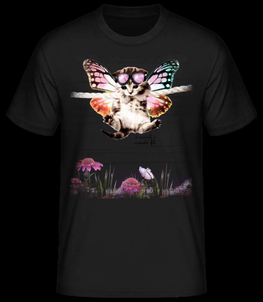 Butterfly Cat - Pánské basic tričko - Černá - Napřed