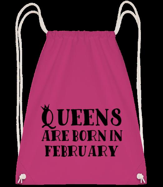 Queens Are Born In February - Drawstring batoh se šňůrkami - Magenta - Napřed