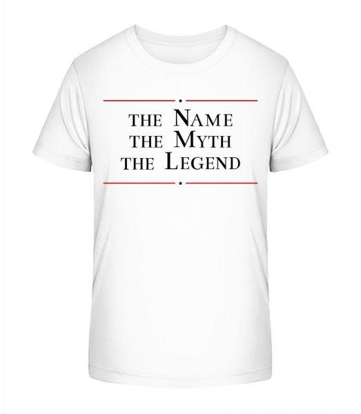 Name The Myth The Legend - Detské Premium Bio tričko - Bílá - Napřed