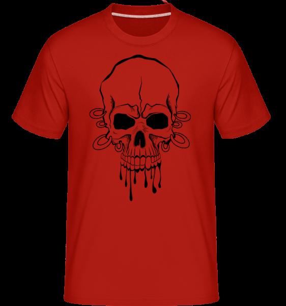 Lebka s zápěstí tetování -  Shirtinator tričko pro pány - Červená - Napřed