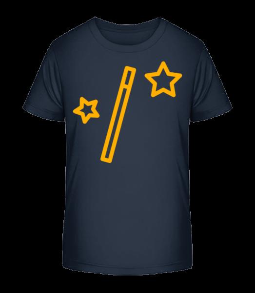 Magic Wand And Stars - Detské Premium Bio tričko - Namořnická modrá - Napřed