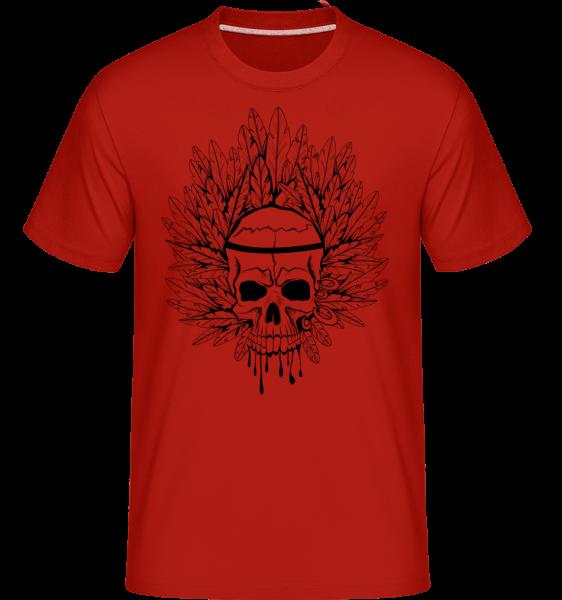 Skull Indian Tattoo -  Shirtinator tričko pro pány - Červená - Napřed