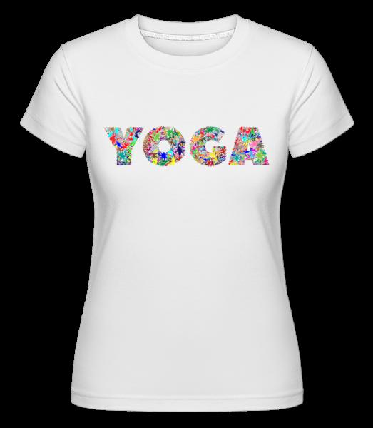 jóga Flowers -  Shirtinator tričko pro dámy - Bílá - Napřed