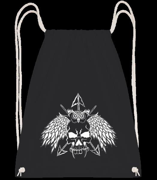 Owls Skull Tattoo - Drawstring batoh se šňůrkami - Černá - Napřed