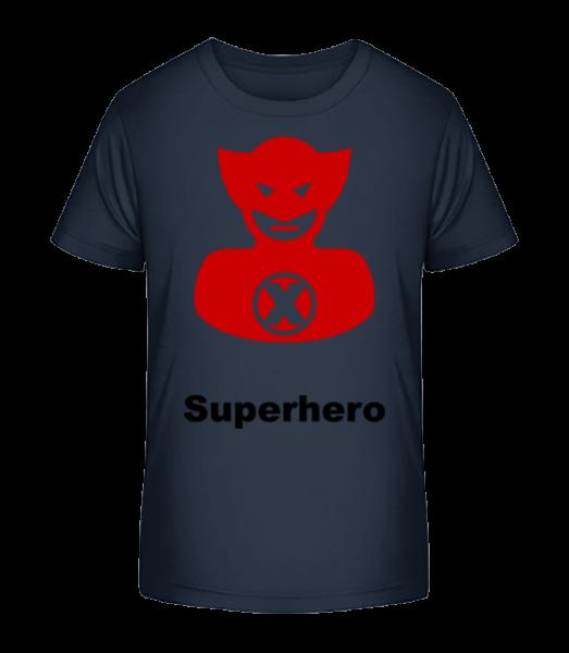 Superhero Icon Red - Detské Premium Bio tričko - Namořnická modrá - Napřed