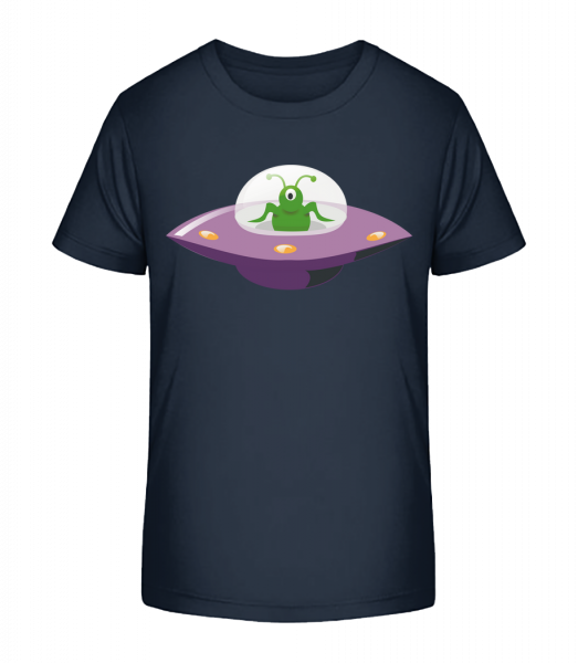 Alien V UFO - Detské Premium Bio tričko - Namořnická modrá - Napřed
