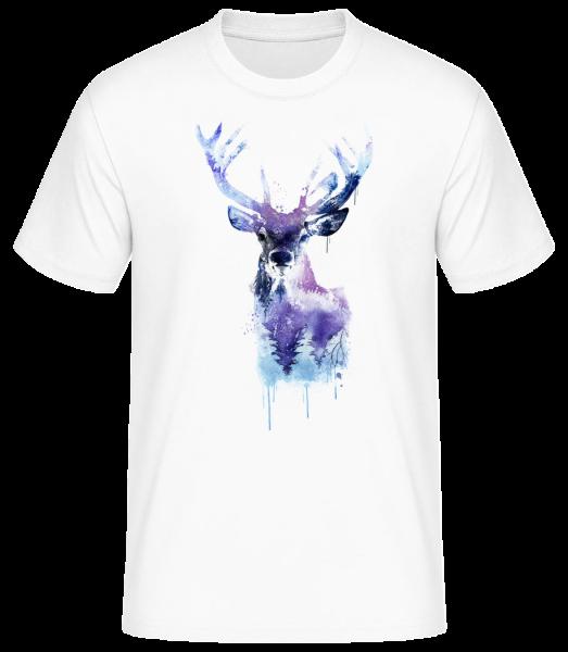 umělecké Deer - Pánské basic tričko - Bílá - Napřed