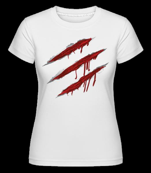 krvavé škrábance -  Shirtinator tričko pro dámy - Bílá - Napřed